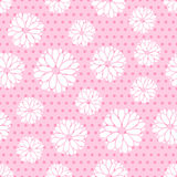 Teste padrão sem emenda das flores e dos pontos Imagem de Stock Royalty Free