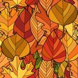 Teste padrão sem emenda das folhas de outono da garatuja do vetor imagem de stock