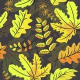 Teste padrão sem emenda das folhas de outono no fundo preto ilustração stock