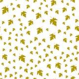 Teste padrão sem emenda das folhas do verde do outono aleatoriamente Fotos de Stock Royalty Free
