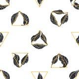 Teste padrão sem emenda das folhas e dos triângulos Projeto do vetor Fotografia de Stock Royalty Free