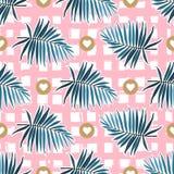 Teste padrão sem emenda das folhas tropicais Frondas verdes da palma em um fundo quadriculado cor-de-rosa Contexto tropical listr ilustração do vetor