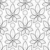 Teste padrão sem emenda das folhas tropicais gráficas preto e branco Foto de Stock Royalty Free