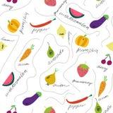 Teste padrão sem emenda das frutas e legumes bonitos ilustração royalty free