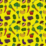 Teste padrão sem emenda das frutas e verdura ilustração stock