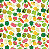 Teste padrão sem emenda das frutas e verdura dos desenhos animados ilustração do vetor