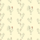 Teste padrão sem emenda das galinhas Fotografia de Stock Royalty Free