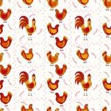 Teste padrão sem emenda das galinhas Foto de Stock