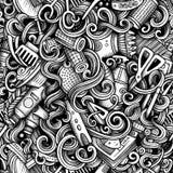 Teste padrão sem emenda das garatujas artísticas gráficas do cabeleireiro Imagens de Stock Royalty Free