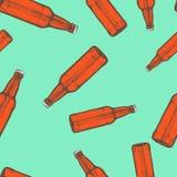 Teste padrão sem emenda das garrafas de cerveja Teste padrão desenhado mão ilustração royalty free