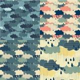 Teste padrão sem emenda das ilustrações do vetor da estação da chuva Imagens de Stock