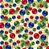 Teste padrão sem emenda das listras douradas dos ornamento do Natal fotos de stock royalty free
