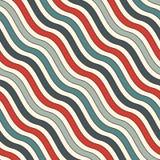 Teste padrão sem emenda das listras onduladas diagonais retros das cores Linha repetida papel de parede Fundo abstrato com motivo Imagens de Stock