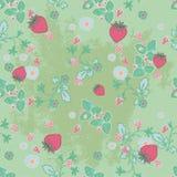 Teste padrão sem emenda das morangos e das flores Imagens de Stock Royalty Free