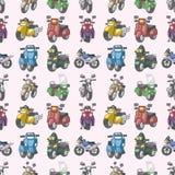 Teste padrão sem emenda das motocicletas Fotografia de Stock Royalty Free