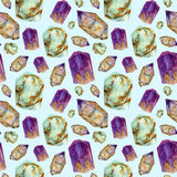 Teste padrão sem emenda das pedras de gema da aquarela Turquesa do jade, ametista e ornamento das pedras do rauchtopaz isolado no Foto de Stock