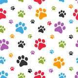 Teste padrão sem emenda das pegadas do cão Fotos de Stock Royalty Free