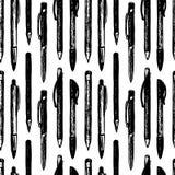 Teste padrão sem emenda das penas e dos lápis ilustração royalty free