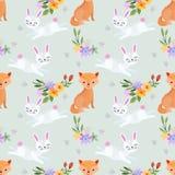 Teste padrão sem emenda das raposas e dos coelhos ilustração stock