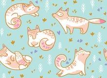 Teste padrão sem emenda das raposas polares bonitos Ilustração tirada mão do vetor no estilo dos desenhos animados ilustração stock