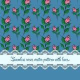 Teste padrão sem emenda das rosas com fundo do azul do laço Imagens de Stock Royalty Free