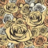 Teste padrão sem emenda das rosas do marfim Vetor ilustração do vetor