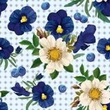 Teste padrão sem emenda das rosas, dos pansies e do berrie azul Fotos de Stock