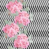 Teste padrão sem emenda das rosas vermelhas da aquarela Fotografia de Stock