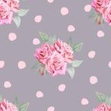Teste padrão sem emenda das rosas vermelhas da aquarela com às bolinhas Fotos de Stock Royalty Free