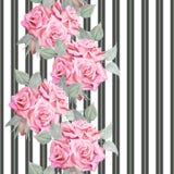 Teste padrão sem emenda das rosas vermelhas da aquarela com listras Imagem de Stock Royalty Free