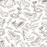 Teste padrão sem emenda das sapatas das mulheres da forma esboço Imagens de Stock Royalty Free