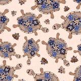 Teste padrão sem emenda das tartarugas Imagens de Stock