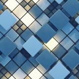 Teste padrão sem emenda das telhas azuis e incandescendo 3D para render ilustração stock