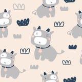 Teste padrão sem emenda das vacas bonitos ilustração stock