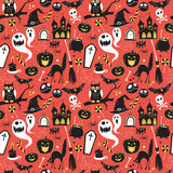 Teste padrão sem emenda de ícones lisos felizes de Dia das Bruxas do vintage Hallowe Imagem de Stock