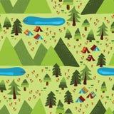 Teste padrão sem emenda de acampamento do vetor da montanha do verão ilustração stock
