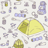 Teste padrão sem emenda de acampamento tirado mão Foto de Stock Royalty Free