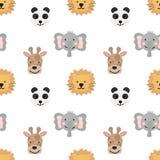 Teste padrão sem emenda de animais bonitos desenhados à mão de países quentes para crianças Imagem da panda, girafa, elefante, le ilustração do vetor