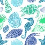Teste padrão sem emenda de animais de mar Fotos de Stock Royalty Free