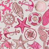 Teste padrão sem emenda de animais de mar e de elementos náuticos Imagens de Stock Royalty Free