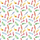 Teste padrão sem emenda de aquarelas coloridas das penas no branco Fotos de Stock Royalty Free