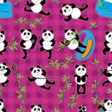 Teste padrão sem emenda de bambu do ponto da panda Imagem de Stock Royalty Free