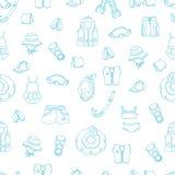 Teste padrão sem emenda de bens da natação para crianças no fundo branco Ilustração dos ícones do vetor Foto de Stock Royalty Free
