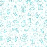 Teste padrão sem emenda de bens da natação para crianças Vetor Linha ilustração da arte Imagens de Stock Royalty Free