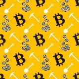 Teste padrão sem emenda de Bitcoin Cryptocurrency Imagens de Stock Royalty Free