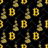 Teste padrão sem emenda de Bitcoin Cryptocurrency Fotografia de Stock Royalty Free
