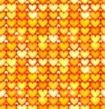 Teste padrão sem emenda de brilho alaranjado do vetor dos corações Fotos de Stock Royalty Free
