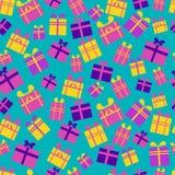 Teste padrão sem emenda de caixas de presente lisas, brilhantes, multi-coloridas com fitas e de curvas em um fundo azul ilustração royalty free