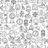 Teste padrão sem emenda de caminhada e trekking do curso Fundo repetível infinito com elementos de viagem cartooning aproximadame Fotos de Stock