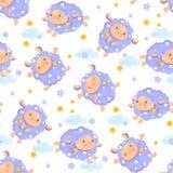 Teste padrão sem emenda de contar carneiros bonitos para cair adormecido Carneiros de salto felizes dos desenhos animados com est Fotografia de Stock Royalty Free